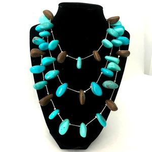 Macy's Turquoise & Brown Statement Necklace